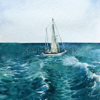 Картина яхта. корабль. море. акварель. эта картина может быть использована в качестве фона, самостоятельного объекта, в качестве украшения, на открытках, обоях, печати