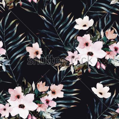 Картина Акварель экзотические бесшовные модели, зеленые тропические листья, цветы, ботанические летние иллюстрации на черном фоне