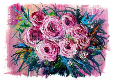 Картина Картина маслом букет роз. Импрессионистский стиль.