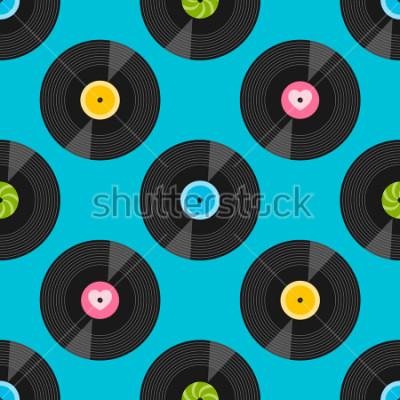 Картина Бесшовный фон с виниловыми пластинками