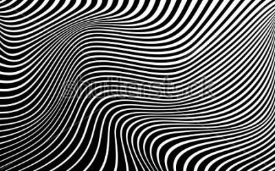 Картина оптическое искусство аннотация фон волна дизайн чёрно-белое