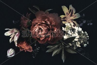 Картина Цветочная винтажная открытка с цветами. Пионы, тюльпаны, лилия, гортензия на черном фоне. Шаблон для оформления свадебных приглашений, праздничных поздравлений, визиток, декоративной упаковки