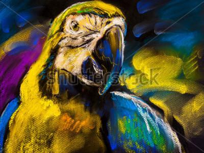 Картина Оригинальная пастельная роспись на картоне. Современная живопись прекрасного попугая