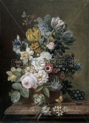 Картина Натюрморт с цветами, Eelke Jelles Eelkema, c. 1815-39, голландская живопись, холст, масло. Букет из роз, тюльпанов, нарциссов, ирисов, на каменном постаменте. Среди цветов бабочка. Сма