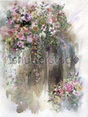 Картина Абстрактные цветы на стене акварельная живопись. Весенние разноцветные цветы