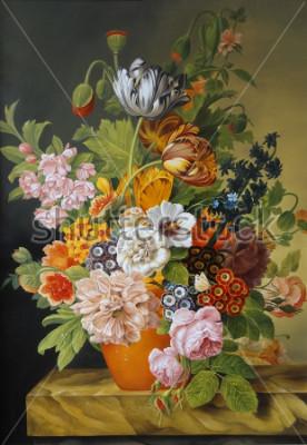 Картина Тюльпаны и розы в старой вазе. Маки, фиалки, ромашки, ромашки. Картина. Натюрморт.