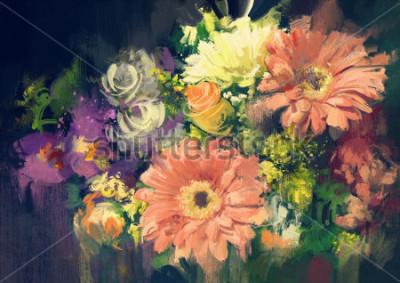 Картина букет цветов в стиле масляной живописи, иллюстрация