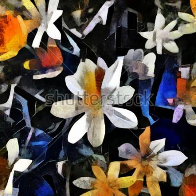 Картина Цветочная композиция в стиле абстрактного кубизма. Картина выполнена маслом на холсте с элементами акриловой росписи.