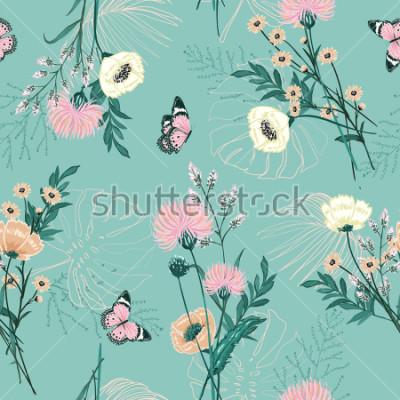 Картина Модная пастель из многих видов садовых цветов, растений, ботаники, бабочки, бесшовные модели вектор дизайн для моды, ткани, обои и все принты на фоне зеленого цвета мяты