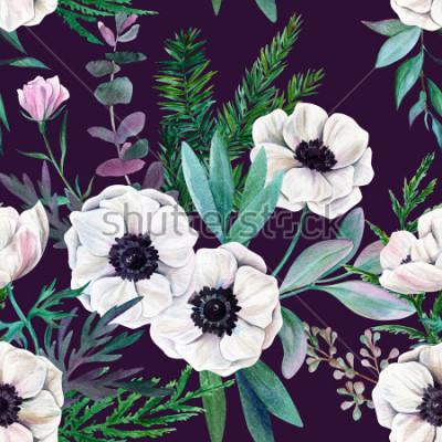 Картина Белые анемоны и листья на фиолетовом фоне. Акварель бесшовные модели, полный цвет, рисованной иллюстрации.