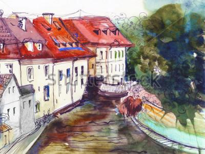 Картина Живописный чешский городок акварельный рисунок плакат масляная живопись холст архитектурный рисунок рукой фон текстильный рисунок открытка книга эскиз