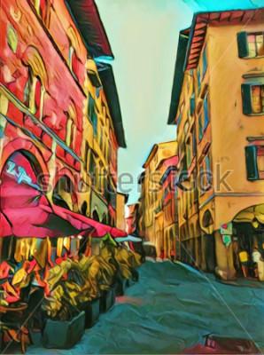 Картина Старинная итальянская улочка во Флоренции. Традиционная старая архитектура Италии. Масло большого размера для изобразительного искусства. Современный импрессионизм рисовал произведениями искусства. Тв