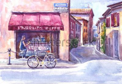 Картина Пейзаж. Улица в старом городе. Италия. Акварельный эскиз.