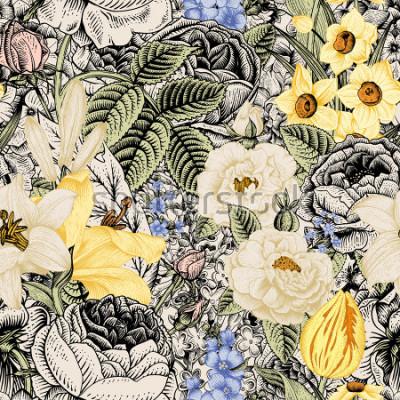 Картина Летний бесшовный цветочный узор. Винтажные цветы Арт. Цветы розы, белые и желтые лилии, нарциссы, тюльпаны и синий дельфиниум и незабудка на бежево-черном фоне.