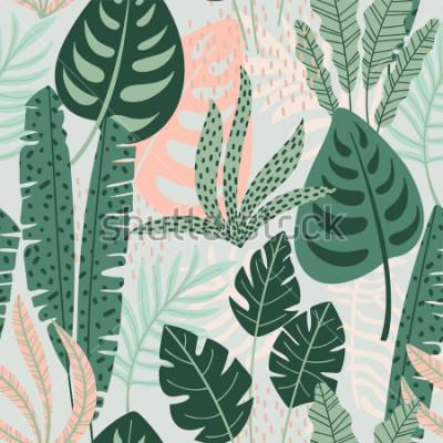 Картина Абстрактная безшовная картина с тропическими листьями. Рука рисовать текстуры. Векторный шаблон