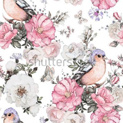 Картина Безшовная картина с розовыми цветками, птицей - зябликом и листьями на белой предпосылке, цветочным узором акварели, розой цветка в пастельном цвете, плиткой для обоев, винтажной карточкой или тканью