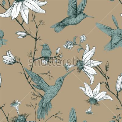 Картина Векторный рисунок эскиз с птицами и цветами. Античный бесшовные модели с нарисованными цветами. Цветочные обои Прованс. Дизайн для паутины, оберточной бумаги, обложки, текстиля, ткани, обоев