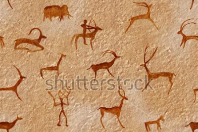 Картина Рисунок бесшовные в пещере, нарисованной древним человеком на стене, скале. Красит оранжево-красную охру. Охота на зверя. Шаман, абориген, неандерталец, икра, баран, корабль, мамонт, олень. Каменный л