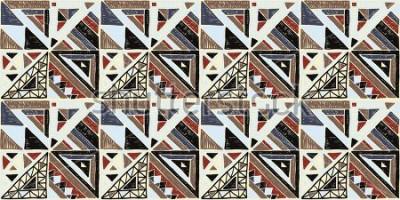 Картина Бесшовный геометрический африканский образец. Этнический орнамент на ковре. Ацтекский стиль. Племенных этнических вектор текстуры. Вышивка на ткани. Индийская, мексиканская, народная картина. Лоскутно