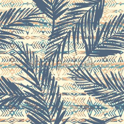 Картина Племенных этнических бесшовный фон с пальмовых листьев. Векторный фон