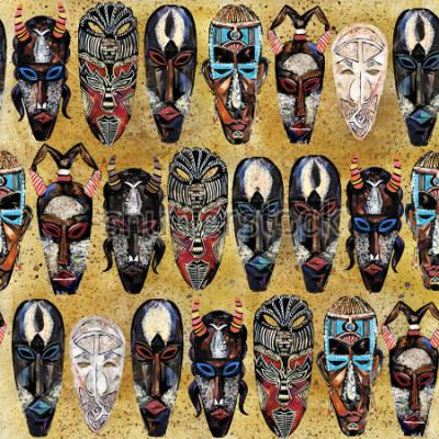 Картина Африканская маска бесшовные модели. рука нарисованные этнических племенных тотем фон