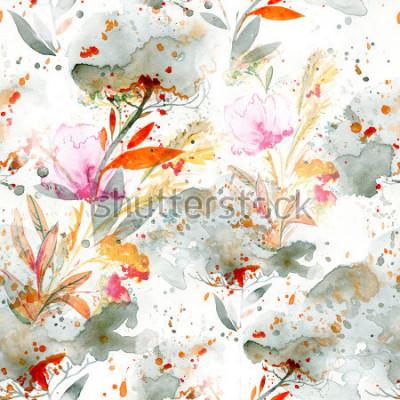 Картина наивная акварель - заливка и плескание. цветочные мотивы. ручная роспись бесшовные модели. фон для текстильного декора и дизайна. ботанические обои. бохо шик арт цветочная рамка
