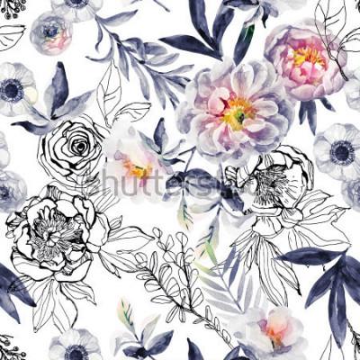 Картина Акварель и чернила каракули цветы, листья, сорняки бесшовный фон. Ручная роспись, нарисованный цветочный фон с пионами, анемонами, лютиком, веткой шиповника, луговыми травами