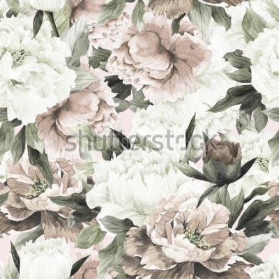 Картина Бесшовный цветочный узор с розами на светлом фоне, акварель.