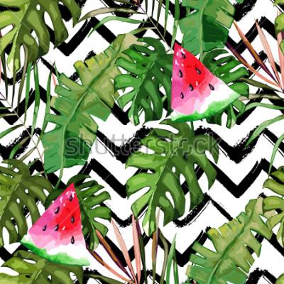 Картина Тропический бесшовные модели. Листья пальмы и арбуз. Рисованной иллюстрации Летний фон. Акварельный стиль
