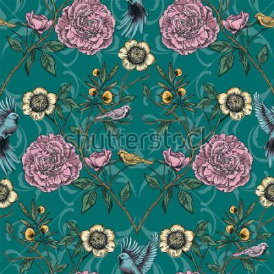 Картина Викторианский сад. Цветочные бесшовные модели. Векторная иллюстрация