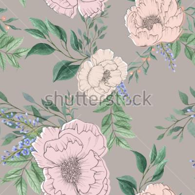 Картина бесшовные акварель фон микс красочный цветочный цветок и листья с линией искусства, используемые для фона текстуры, оберточной бумаги, текстиля или обоев дизайна