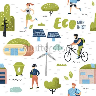 Картина Бесшовный фон с зеленым городом. Охрана окружающей среды. Эко Сити Будущие Технологии Сохранения Планеты. Альтернативная энергия Экология фон. Векторная иллюстрация
