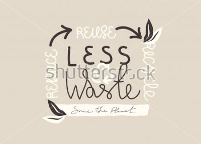 Картина «МЕНЬШЕ ОТХОДОВ» типографика рисованной слоган дизайн. Векторный концепт эко ноль отходов иллюстрации.