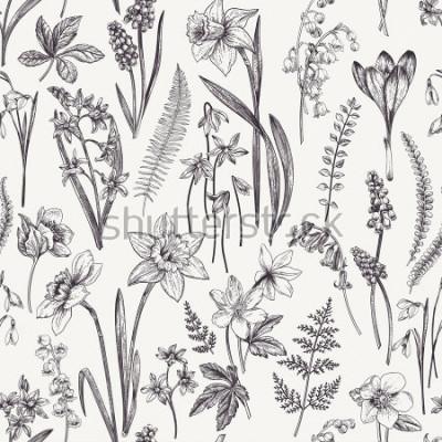 Картина Старинный бесшовный цветочный узор. Весенние цветы и травы. Ботаническая иллюстрация. Нарцисс, ландыш, морозник, подснежник, крокус. Гравировка. Черное и белое.