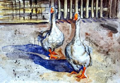 Картина Домашние гуси гуляют во дворе. Рисование акварелью на бумаге. Наивное искусство. Абстрактное искусство. Живопись акварелью на бумаге.