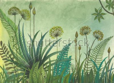 Картина Зеленая трава растет в джунглях. иллюстрация, нарисованная акварелью