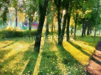 Картина Летний пейзаж Деревья в парке, тень на траве. Акварель. Для печати на керамике и ткани.