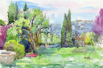 Картина Утро в итальянском саду. Акварель