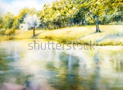 Картина Акварельный пейзаж. Летний парк. Природа. Акварель ботаническая иллюстрация. Пейзаж с озером. берег