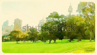 Картина Акварельные иллюстрации Сидней, Центральный парк