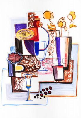 Картина Натюрморт с керамическими бутылками