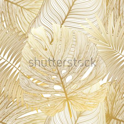 Картина Безшовная картина с тропической ладонью листьев. Векторная иллюстрация