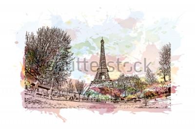 Картина Эйфелева башня - это решетка из кованого железа на Марсовом поле в Париже, Франция. Акварель всплеск с рисованной эскиз иллюстрации в векторе.