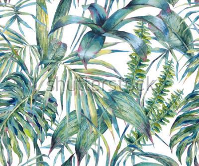 Картина Натуральные листья экзотическая акварель бесшовные модели, зеленые тропические листья, папоротник, густые джунгли, ручная роспись ботанические летние иллюстрации на белом фоне