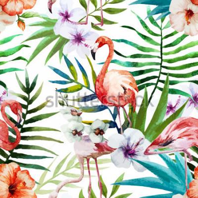 Картина Фламинго, акварель, тропики, узор
