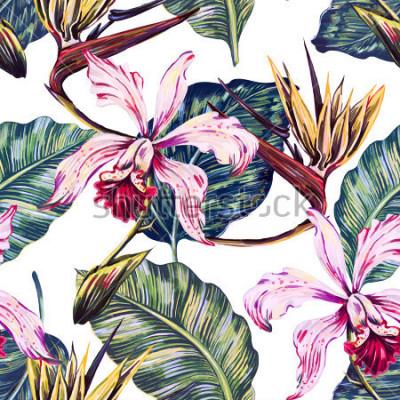 Картина Цветочные бесшовные тропический узор, летний фон с экзотическими цветами, пальмовые листья, листья джунглей, орхидеи, райская птица цветок. Ботанические обои, иллюстрация в гавайском стиле