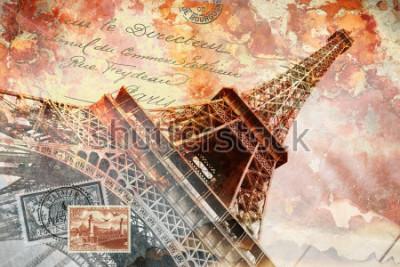 Картина Эйфелева башня Париж, абстрактное цифровое искусство, открытка