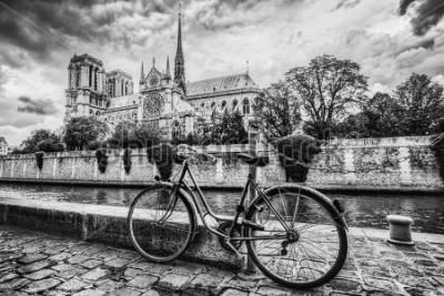Картина Ретро велосипед рядом с собором Нотр-Дам в Париже, Франции и Сене. Черный и белый винтаж