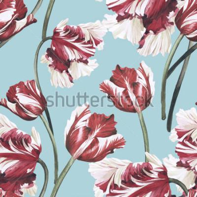Картина Бесшовный цветочный узор с тюльпанами, акварель