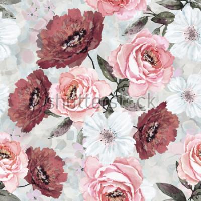 Картина Бесшовный фон с цветами и листьями. Цветочный фон для обоев, бумаги и ткани. Акварельная живопись с розовыми и бордовыми розами.